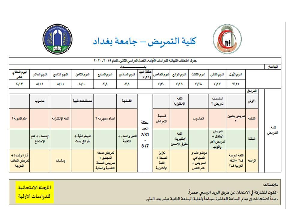 جدول الامتحانات النهائية للفصل الدراسي الثاني